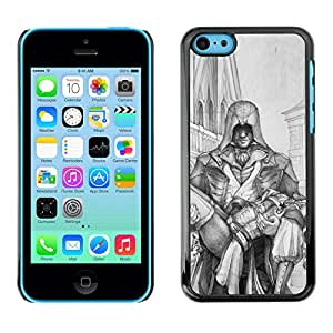 Shell-Star Arte & diseño plástico duro Fundas Cover Cubre Hard Case Cover para Apple iPhone 5C ( Man Carrying Woman Hero Art Drawing Pencil )