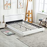 Sliverylake Modern Full Bed Metal Frame Contemporary Upholstered White Leather Wood Slat Platform LED Light Headboard Mattress Bedroom Furniture