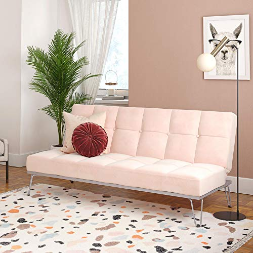 Novogratz Elle Convertible Sofa Bed And Couch Futon Pink Amazon In Home Kitchen