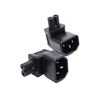 3Pin IEC 320 C14 to C5 Angled Power Adapter Male to Female Connector Converter