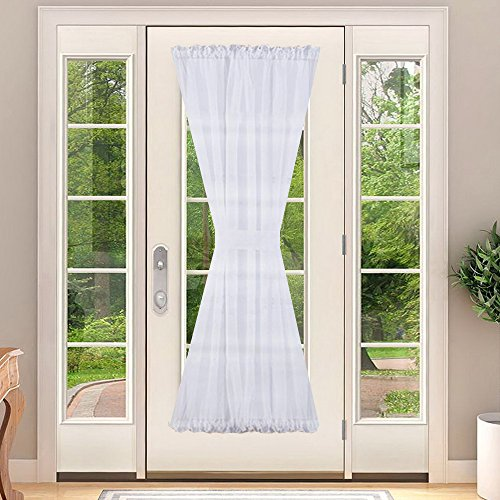 Voile French Door Curtain Panel - NICETOWN Voile Glass Door Curtain Panel with Bonus Tieback, 60