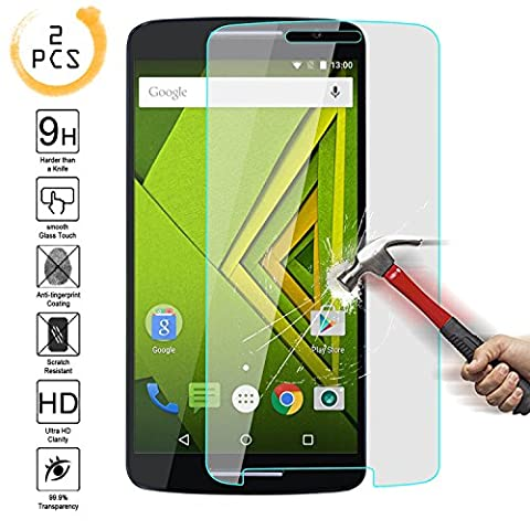 Moto X Play Tempered Glass Screen Protector,Kmall 0.26mm 2.5D HD Clear Oleophobic Coating Screen Film Cover For Motorola Droid MAXX 2 Hardness Anti Scratch Fingerprint water (Motorola X Clear Cover)