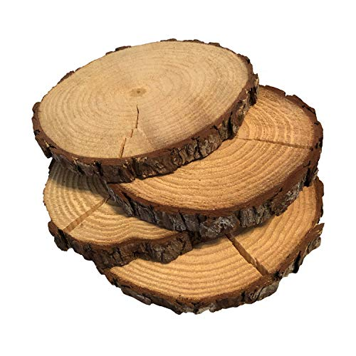 (5 Pack Round Rustic Woods Slices with Cracks, 9