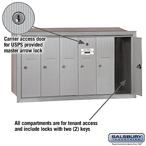 Salsbury Industries 3506ARU Recessed Mounted Vertical Mailbox with 6 Doors and USPS Access, Aluminum by Salsbury Industries (Image #1)