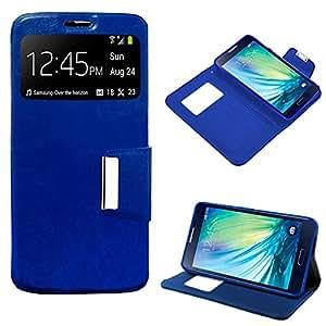 Samsung 0755563287664 - Funda cuero piel para galaxy a5 azul con soporte e identificador de llamada