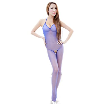 9c89202903 Amazon.com  Blue Sexy Women Mesh Hollowed Fishnet Open Crotch Crotchless  Bodystocking Pantyhose Stockings Lingerie Nightwear Nightclub Jumpsuit  Outfit ...
