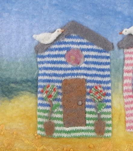 Artfelt Beach hut Picture Felt kit a Carefully Designed Felting kit to Make a Colourful Seaside Scene with Beach Huts and a Lighthouse.