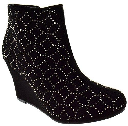 Forever Link Lucia 79 Womens Wedge Rhinestone Ankle Booties Black (Rhinestone Bootie Platform)