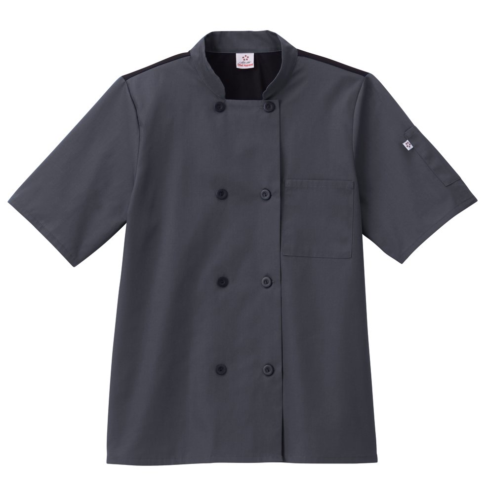 Five Star Chef Apparel Unisex Moisture Wicking Mesh Back Coat (Charcoal, Medium)