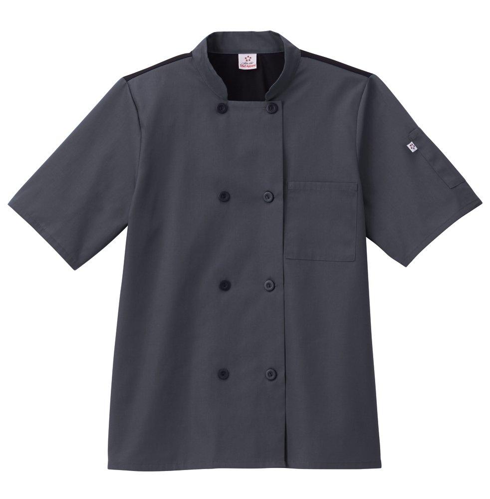 Five Star Chef Apparel Unisex Moisture Wicking Mesh Back Coat, Charcoal, L