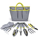 Jardineer 8 Piece Heavy Duty Garden Tools Set With Cast-Aluminum Outdoor Hand Tool Kit, Pruner, Gloves, Big Gardening Tool Organizer Bag for Man and Woman