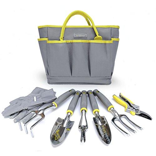 Jardineer 8 Piece Heavy Duty Garden Tools Set With Cast-Aluminum Outdoor Hand Tool Kit, Pruner, Gloves, Big Gardening Tool Organizer Bag for Man and Woman by Jardineer