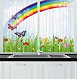 Ambesonne Rainbow Kitchen Curtains, Springtime Meadow Colorful Butterflies Grass Daisy Silhouettes Poppy Playroom Decor, Window Drapes 2 Panels Set for Kitchen Cafe, 55W X 39L Inches, Multicolor Review