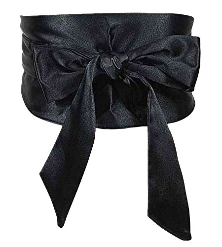 (NormCorer- Satin Ribbon Belt- Formal And Casual- Artificial Silk- Length Adjustable- For Wedding Dress| Daily Wear- 1 Pcs(Black))