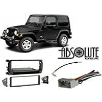 Absolute RADIOKITPKG16 Fits Jeep Wrangler 2003-2006 Single DIN Stereo Harness Radio Install Dash Kit