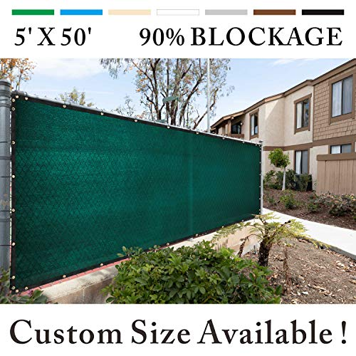 Royal Shade 5' x 50' Black Fence Privacy Screen Cover Windscreen, with Heavy Duty Brass Grommets, Custom Make Size (Best Way To Cover Chain Link Fence)