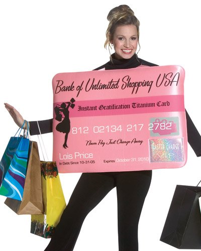 Miss Charg it Credit Card Halloween Costume Adult One Size Fits Most 3681   Amazon.co.uk  Kitchen   Home 51bb6e68857