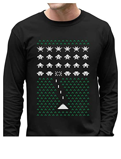 Amazoncom Space Geeky Ugly Christmas Sweater Invaders Funny Xmas