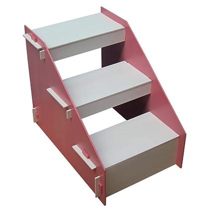 Escaleras y escalones Escaleras Plegables para Mascotas Pasos para Mascotas De Color Rosa, 3 Pasos