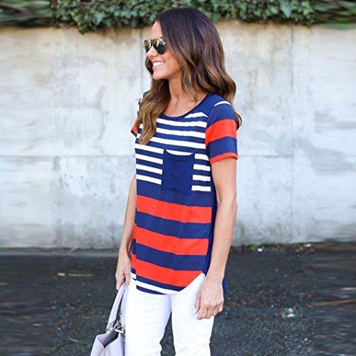 Rcool - Tops para Mujeres - Manga Corta de la Verano de Rayas Blusa Tops Camiseta Con Bolsillo Azul + Rojo