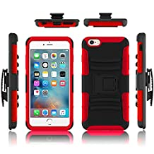 iPhone 6 case, Febe iPhone 6 Dual Layer Kickstand Case, Shockproof Hybrid Rugged Hard Soft Ultra Slim Fit Belt Clip Hostler Cover Case for iPhone 6 4.7 Inch - Red