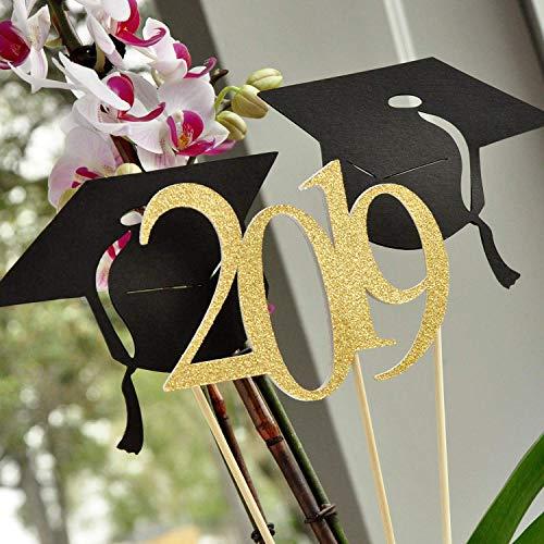 Graduation Table Decorations. Black and Gold Graduation Centerpieces for Tables. (1 Single 2019 Stick and 2 Graduation Cap Sticks). -