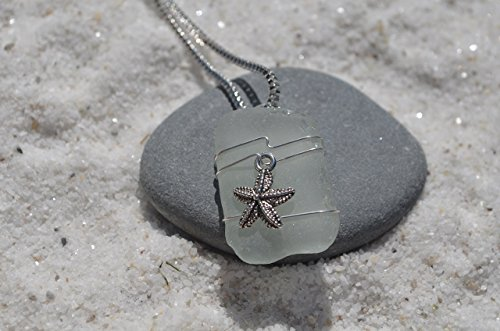 Starfish on a Genuine Light Aqua Sea Glass Necklace with a Sterling Silver Chain