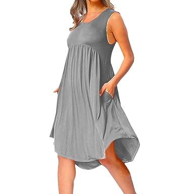 f624b1cf593 Holywin Robe mi-Longue plissée Ample sans Manches pour Femmes ...