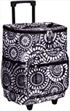 Home Essentials 70614 Tie Dye Floral insulated Rolling Cooler Black and White