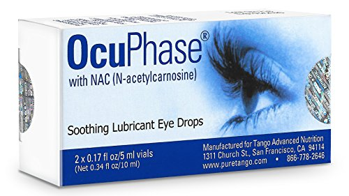 OcuPhase Soothing Lubricant Eye Drops with NAC (N-Acetylcarnosine), 2 x 5 Milliliter Vials - Eye Cataract Drops
