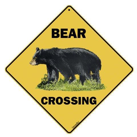 """CROSSWALKS Bear Crossing 12"""" X 12"""" Aluminum Sign"""