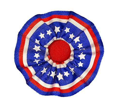 - Tri-color Ribbon Cockade Red White and Blue Stars and Stripes Hat Trim with Brooch Pin Back