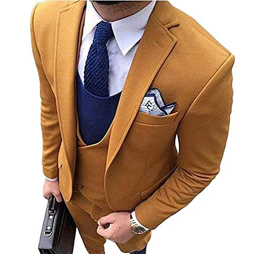 Jacket Tuxedo Peak Breasted Double (TBB Three Pieces Peak Lapel One Button Yellow Blazer Formal Groom Wedding Tuxedos Suits(Yellow,36S))