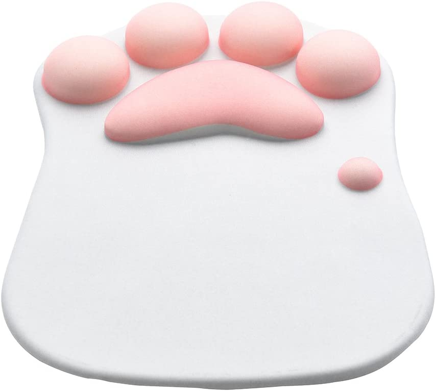 WESAPPINC Cat Paw Mouse Pad with Wrist Support Soft Silicone Wrist Rests Non Slip Ergonomic Mousepad for Office Computer Gaming Desk Decor (10.7x7.8x0.9'') (Grey)