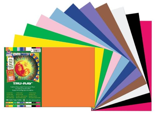 Pacon Tru-Ray Assorted Colors Smart Stack Construction Paper, 12 by 18 Inches, Pack of 120 (11x18 Construction Paper)