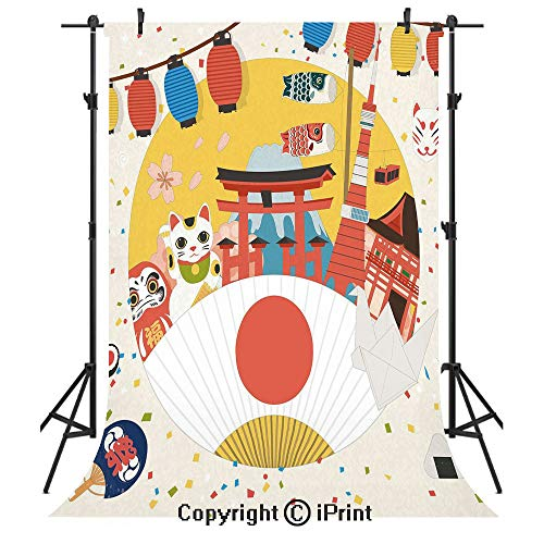 Lantern Photography Backdrops,Japanese Inspired Commercial Pattern Various Asian Culture Items Cool Cat Origami,Birthday Party Seamless Photo Studio Booth Background Banner 6x9ft,Multicolor
