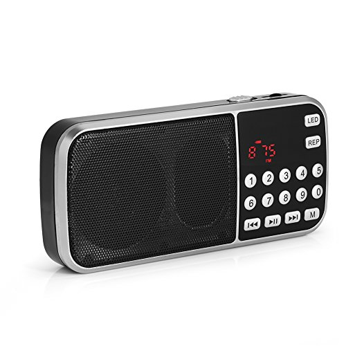 VBestlife Mini-radio met led-zaklamp-functie, MP3-U-schijf van de muziekspeler-FM TF