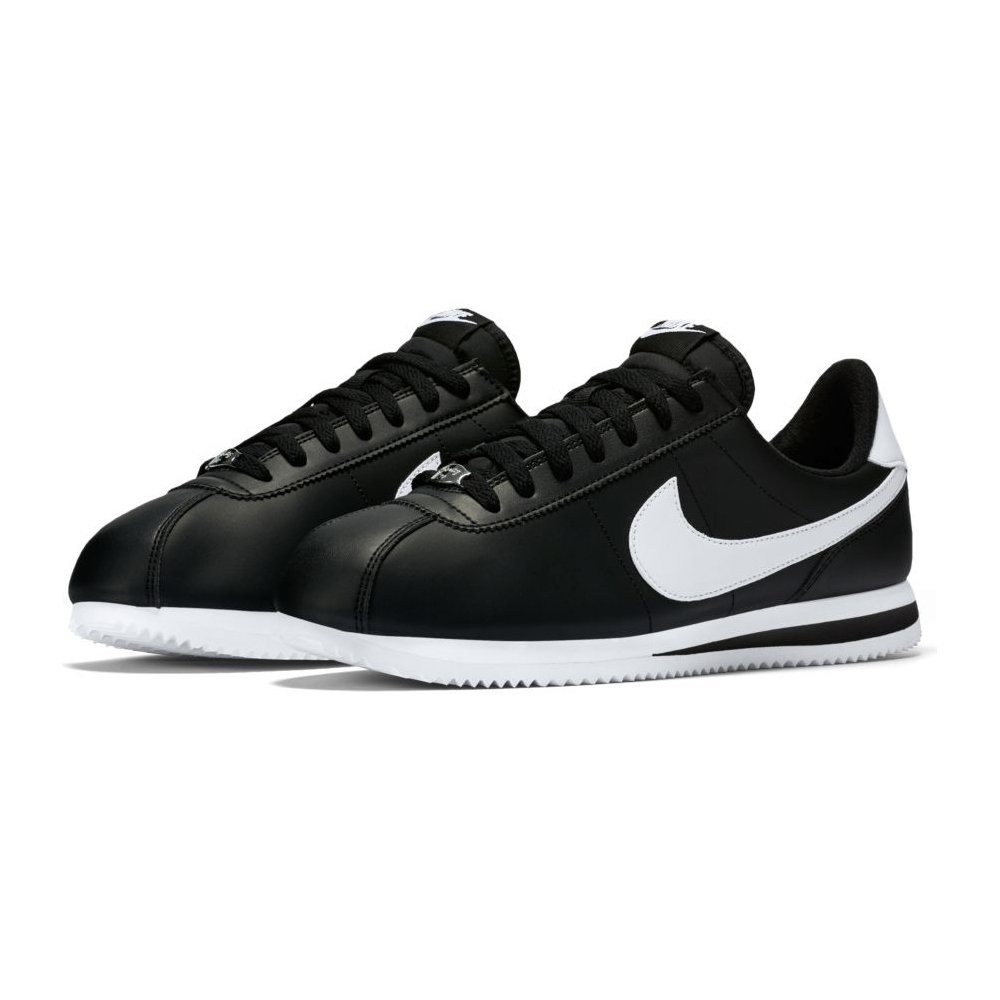 NIKE Cortez Basic Leather 11 D(M) US|Black / Metallic Silver-white