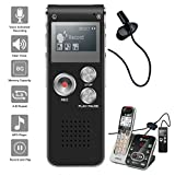 NeeGo Digital Voice Activated Recorder for Lectures 8GB with USB Light Weight Portable MP3 Player with Mic 3.5mm Microphone - Plus Telephone Pickup Cordless Landline Phone Recording Device Recorder