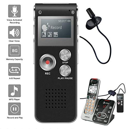 Telephone Pickup Device - NeeGo Digital Voice Activated Recorder for Lectures 8GB with USB Light Weight Portable MP3 Player with Mic 3.5mm Microphone - Plus Telephone Pickup Cordless Landline Phone Recording Device Recorder
