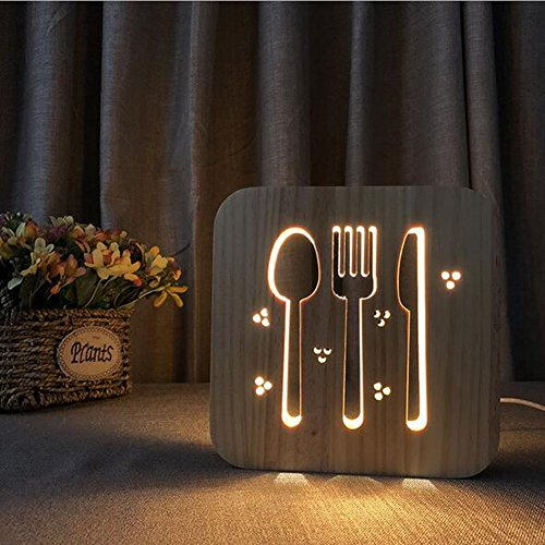 3D Illusion Lamp LED Night Light Creative Tableware Stereo Lights Sculpture Wood Art Table Lamp/USB Power Light +Data Line(With Switch) ()