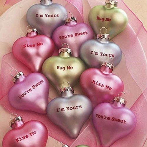 VALENTINES DAY SET OF 12 CANDY HEART ORNAMENTS VALENTINES , WEDDING DECOR -