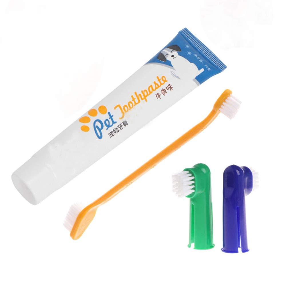 likeitwell pour Animal Domestique Chien Dentifrice kit avec Long Manche courbé, supprime Les débris de Nourriture, Extensible Doigt d'entrée de Gamme (4pcs)