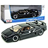 Maisto Year 2014 Special Edition Series 1:18 Scale Die Cast Car Set - Black Color Sports Coupe LAMBORGHINI DIABLO SV with Display Base (Car Dimension: 9