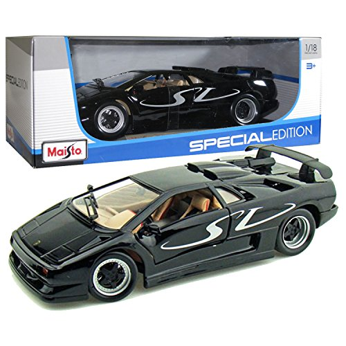 Special Edition Display (Maisto Year 2014 Special Edition Series 1:18 Scale Die Cast Car Set - Black Color Sports Coupe LAMBORGHINI DIABLO SV with Display Base (Car Dimension: 9