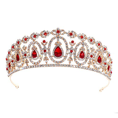 MoGist Bridal Crown Headband Wedding Hair Accessories Bride Crowns Crystal Rhinestone with Gems Queen Tiaras Headpiece for Women Girls (Red) (Wedding Tiara Red)