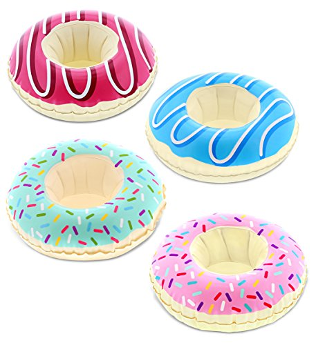 Drink Holder Ring - CoTa Global Pool Party - Funny Delectable Frosted Donut Inspired Inflatable Ring Drink Holder - Set of 4 - for The Beach, Pool Party - Heavy Duty - UV Resistant - Inflatables