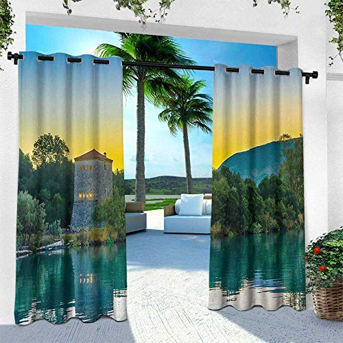 Hengshu Asian, Outdoor Patio Curtains Waterproof with Grommets,Venetian Tower Archaeological Site National Park at Sunrise Lake Sanctuary Landscape, W108 x L108 Inch, Blue Green