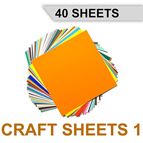 827th Craft Sheets 1 - Permanent Adhesive Backed Vinyl Sheets - 40 Sheets Assorted Colors - 12
