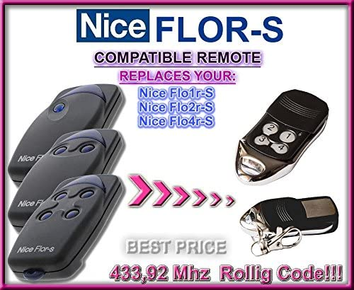 Nice Apollo FLO2//FLO4//FLO2R-S//FLORS 433.92MHz Garage Remote Control Rolling Code